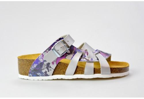 BIO LIFE zdravotní pantofle dámská Valeria 0004.130 stříbrná