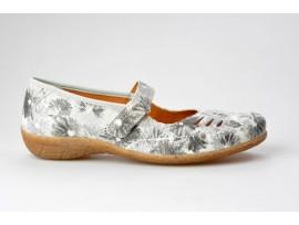 COMFORTABEL dámská balerínka s páskem 942206-9 šedo/bílá