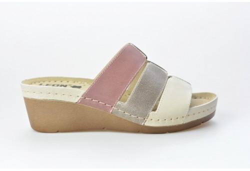 LEONS dámská pantofel relaxační Mona 1009 béžová multicolor