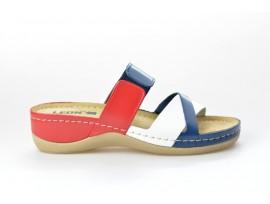 LEONS dámská pantofel relaxační Silver 909 mod/bí/červená