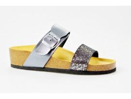 BIO LIFE zdravotní pantofle dámská 1587 BELINDA šedo/stříbrná
