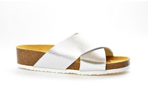 SALAMANDER zdravotní pantofle na klínku 32-13104-35 šíře G stříbrná