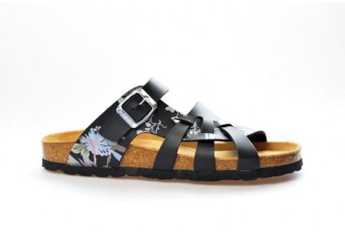 SALAMANDER zdravotní pantofle na klínku 32-13005-31 šíře G černá/kytka