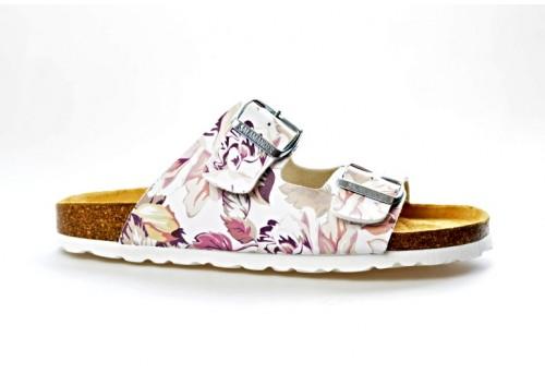 SALAMANDER zdravotní pantofle 32-13004-30 šíře G bílá/květy